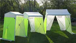 work tents in field